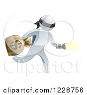 Clipart Of A 3d Silver Masked Robber Running With A Money Bag And Flashlight Royalty Free Vector Illustration by AtStockIllustration