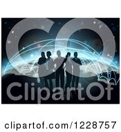 Clipart Of A Silhouetted Business Team Over A Globe With Flight Paths Royalty Free Vector Illustration