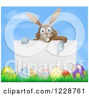 Brown Easter Bunny Pointing Down At A Sign Over Eggs Against Sky