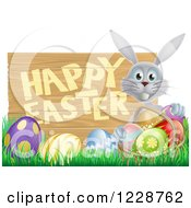 Clipart Of A Gray Bunny With A Basket And Eggs In Grass By A Happy Easter Sign Royalty Free Vector Illustration by AtStockIllustration