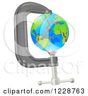 Clipart Of A 3d Earth Cracking In A Tight Clamp Royalty Free Vector Illustration