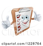 Clipart Of A Happy Survey Clipboard Holding Two Thumbs Up Royalty Free Vector Illustration by AtStockIllustration