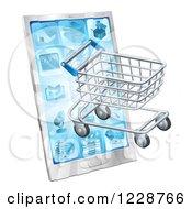 3d Shopping Cart Emerging From A Smart Phone