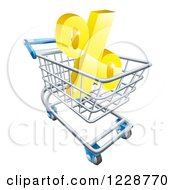 Clipart Of A 3d Golden Interest Rate Percent Symbol In A Shopping Cart Royalty Free Vector Illustration