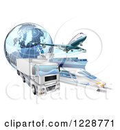 Clipart Of A 3d Earth Globe And Cargo Logistics Modes Train Plane Big Rig And Ship Royalty Free Vector Illustration by AtStockIllustration