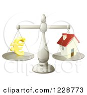 Clipart Of A Scale Comparing Euros And A House Royalty Free Vector Illustration by AtStockIllustration