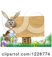 Brown Easter Bunny By A Wood Sign With Eggs And A Basket