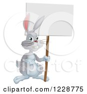 Gray Bunny Rabbit Holding A Sign