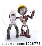 Clipart Of A 3d Red Android Construction Robot With Flat Nose Pliers Royalty Free Illustration