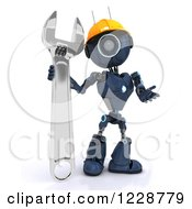 Poster, Art Print Of 3d Blue Android Construction Robot With A Spanner Wrench