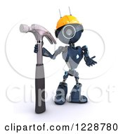Poster, Art Print Of 3d Blue Android Construction Robot With A Hammer