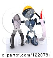 Clipart Of A 3d Blue Android Construction Robot With Wire Cutters Royalty Free Illustration