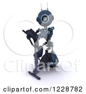 Clipart Of A 3d Android Robot Exercising On A Gym Bike Royalty Free Illustration