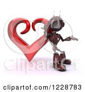 3d Red Android Robot Leaning Against A Valentine Heart