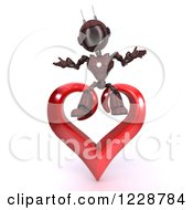 3d Red Android Robot Sitting On A Valentine Heart