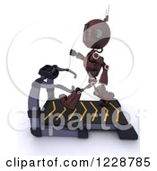 Clipart Of A 3d Red Android Robot Exercising On A Treadmill Royalty Free Illustration by KJ Pargeter