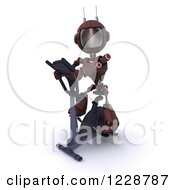 Clipart Of A 3d Red Android Robot Exercising On A Gym Bike Royalty Free Illustration