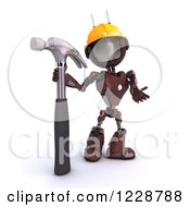 Poster, Art Print Of 3d Red Android Construction Robot With A Hammer