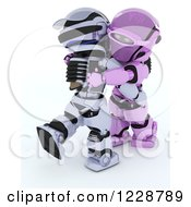 Clipart Of A 3d Robot Couple Ballroom Dancing Royalty Free Illustration