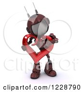 3d Red Android Robot Hugging A Valentine Heart