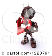 3d Red Android Robot Holding A Valentine Heart