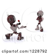 3d Red Romantic Android Robot Giving Another A Rose