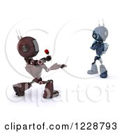 3d Red Romantic Android Robot Giving A Female Robot A Rose