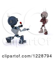 3d Romantic Android Robot Giving A Female Robot A Rose