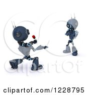 3d Romantic Android Robot Giving Another A Rose
