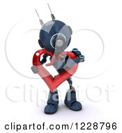 3d Android Robot Hugging A Valentine Heart