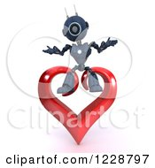 3d Android Robot Sitting On A Valentine Heart