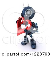 3d Android Robot Holding A Valentine Heart