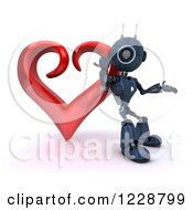 3d Android Robot Leaning Against A Valentine Heart