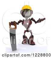 Poster, Art Print Of 3d Red Android Construction Robot With A Saw