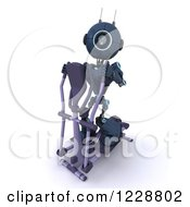 Clipart Of A 3d Android Robot Exercising On A Cross Trainer Royalty Free Illustration