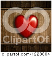 Transparent Red Heart Over Wood Grain