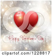 Happy Valentines Day Greeting With A Red Heart Over Bokeh Stars And Snowflakes
