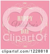 Retro Happy Valentines Day Greeting In A Frame Over Pink