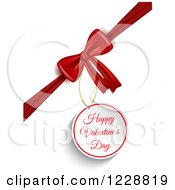 Happy Valentines Day Greeting Gift Tag And Bow