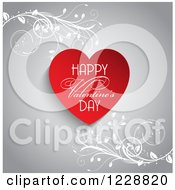 Happy Valentines Day Greeting With A Red Heart And Vines On Gray