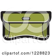 Clipart Of A Dark Green Purse Clutch Icon Royalty Free Vector Illustration