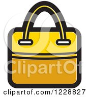 Clipart Of A Yellow Hand Bag Icon Royalty Free Vector Illustration