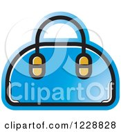 Clipart Of A Blue Purse Icon Royalty Free Vector Illustration