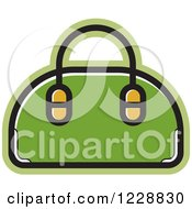 Clipart Of A Green Purse Icon Royalty Free Vector Illustration by Lal Perera