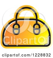 Clipart Of A Yellow And Orange Purse Icon Royalty Free Vector Illustration by Lal Perera
