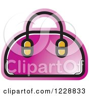 Clipart Of A Pink Purse Icon Royalty Free Vector Illustration by Lal Perera