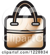 Clipart Of A Bronze Hand Bag Icon Royalty Free Vector Illustration by Lal Perera