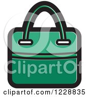 Clipart Of A Green Hand Bag Icon Royalty Free Vector Illustration by Lal Perera