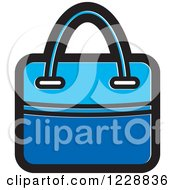 Clipart Of A Blue Hand Bag Icon Royalty Free Vector Illustration by Lal Perera