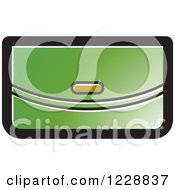 Clipart Of A Green Clutch Purse Icon Royalty Free Vector Illustration by Lal Perera